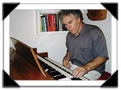 Pete Fallico trying his hand at the Hammond B-3, San Jose, CA, 8/2001