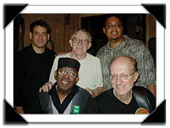 Jimmy McGriff and the Gene Ludwig quartet (Rob Chaseman, Gene, Vince Ector -rear,  Jimmy McGriff and Bob DeVos - front),Mt. Vernon, NY, 8/2004